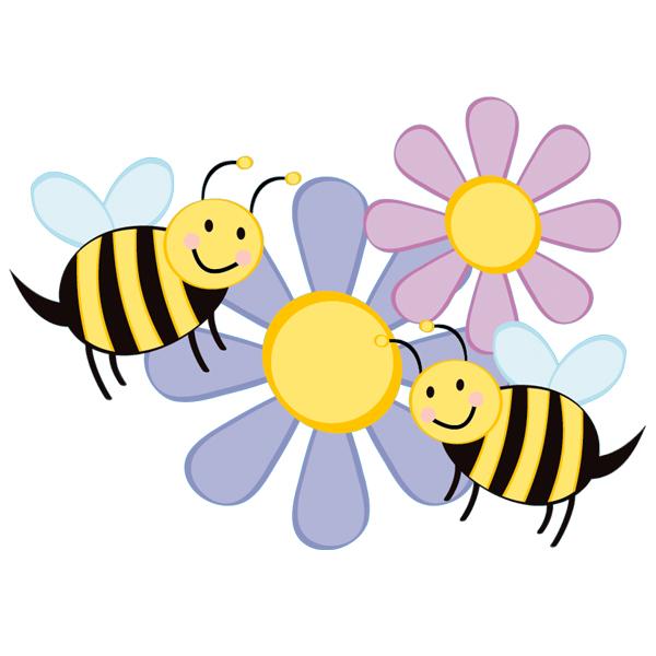 naklejkascienna : Naklejka ścienna Dla Dzieci - Kwiatki i Pszczoły