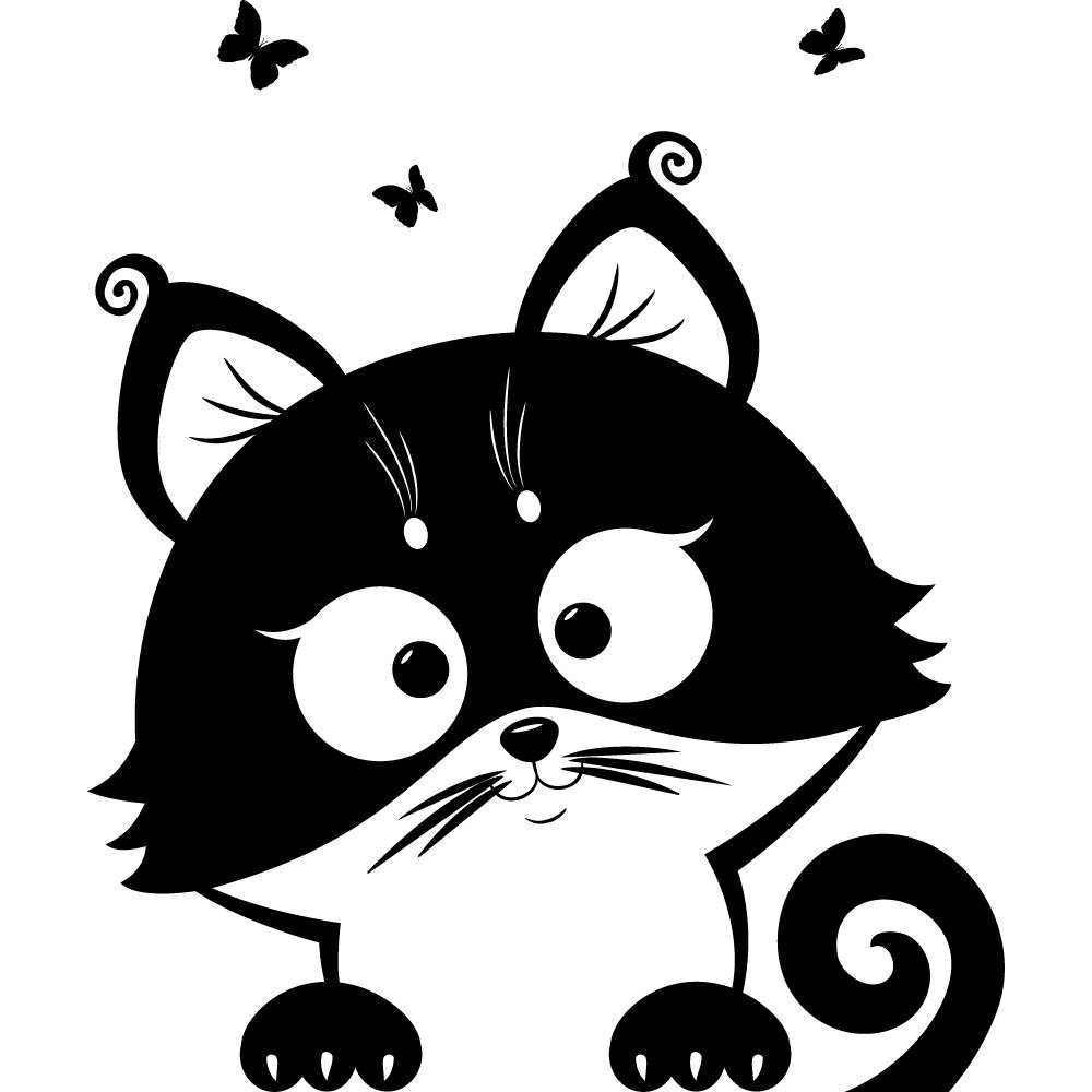 Кошки черно-белые рисунок, для
